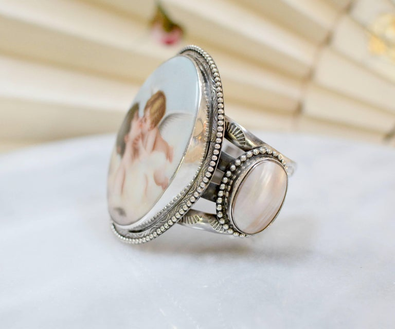Women's or Men's Jill Garber Rare French Cupids Kiss Porcelain with Mother-of-Pearl Cuff Bracelet For Sale