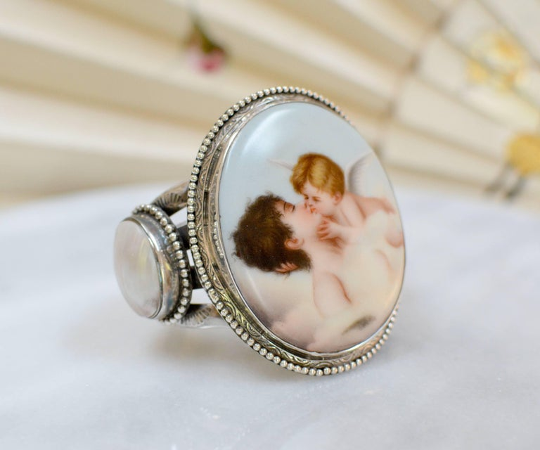 Jill Garber Rare French Cupids Kiss Porcelain with Mother-of-Pearl Cuff Bracelet For Sale 1
