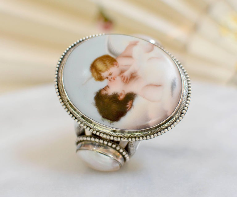 Jill Garber Rare French Cupids Kiss Porcelain with Mother-of-Pearl Cuff Bracelet For Sale 5