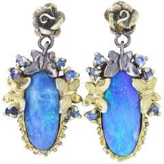 5.97 Carat Opal and Multi-Color Gemstone Earrings