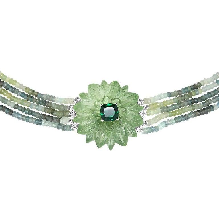 137 Carat Carved Green Amethyst Flower Necklace
