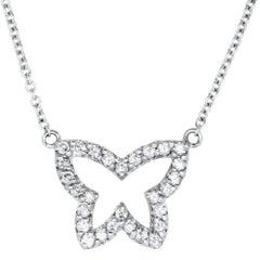 0.22 Carat White Diamond Butterfly Necklace