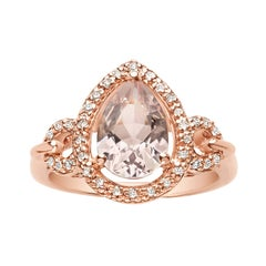 1.55 Carat Pear Shaped Pink Morganite and Diamond Ring