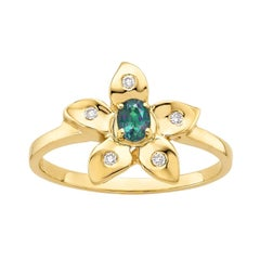 Oval Natural Color Changing Alexandrite and Diamond Flower Ring