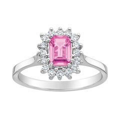 Emerald Cut Pink Sapphire and White Diamond Ring