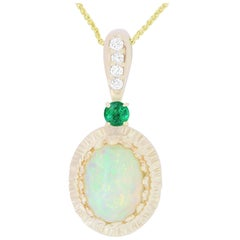 1.97 Carat Opal, 0.17 Carat Emerald and White Diamond Pendant