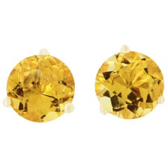 1.55 Carat Round Citrine Stud Earrings