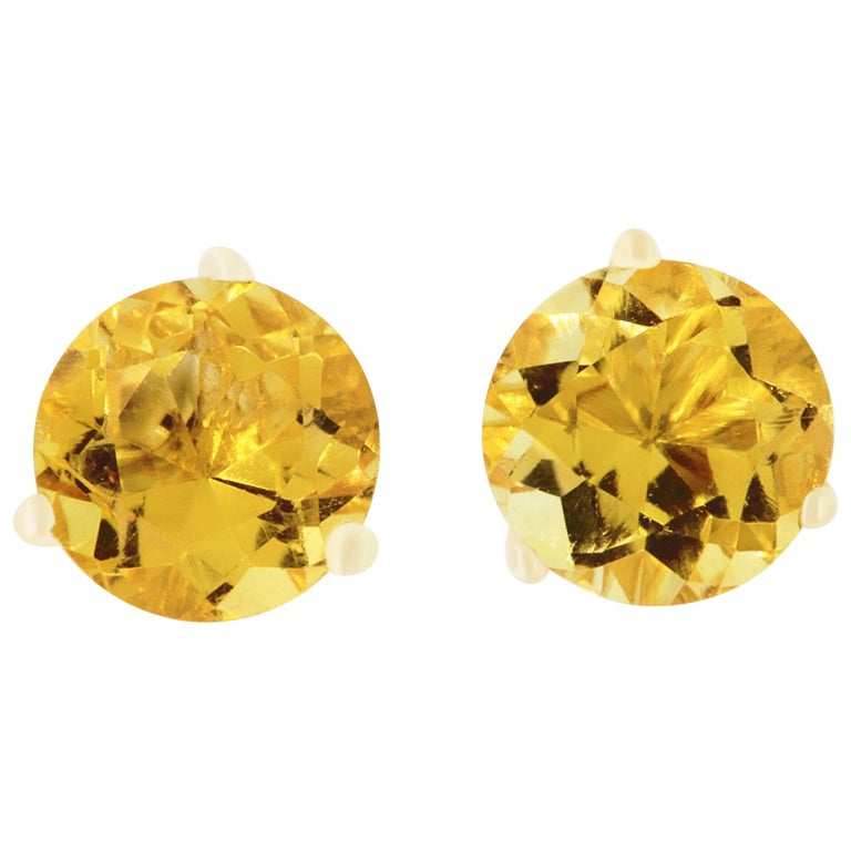 1.55 Carat Round Citrine Stud Earrings For Sale