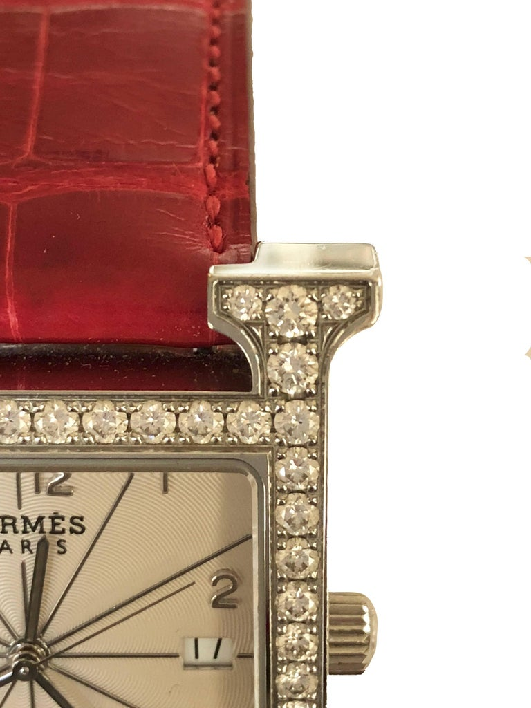 Hermes Stainless Steel Diamond Heure H Watch In Excellent Condition For Sale In Geneva, CH