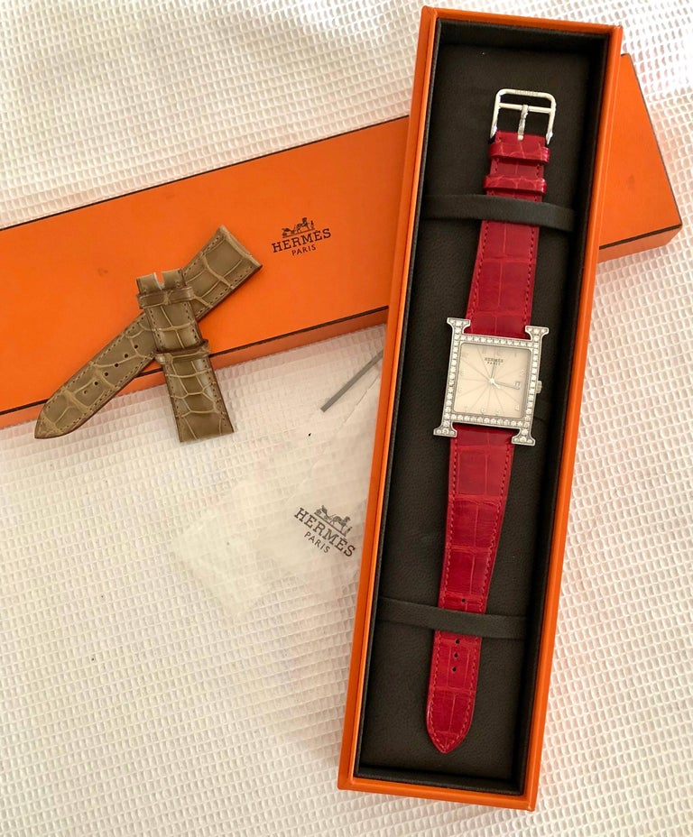 Hermes Stainless Steel Diamond Heure H Watch For Sale 4