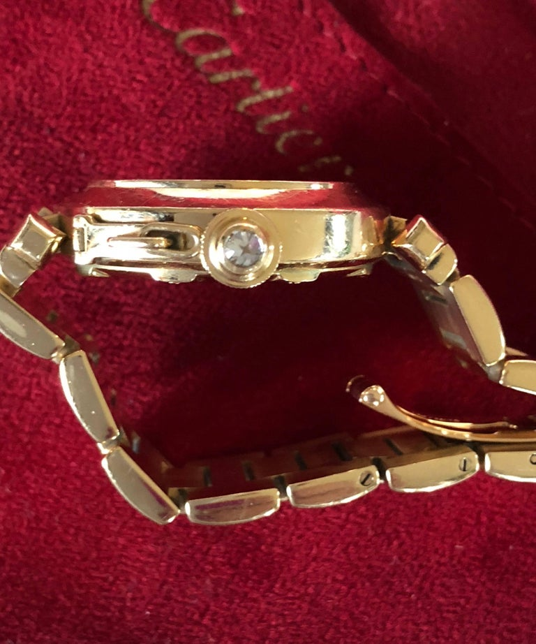 Cartier Yellow Gold Diamond Pasha Watch In Excellent Condition For Sale In Geneva, CH