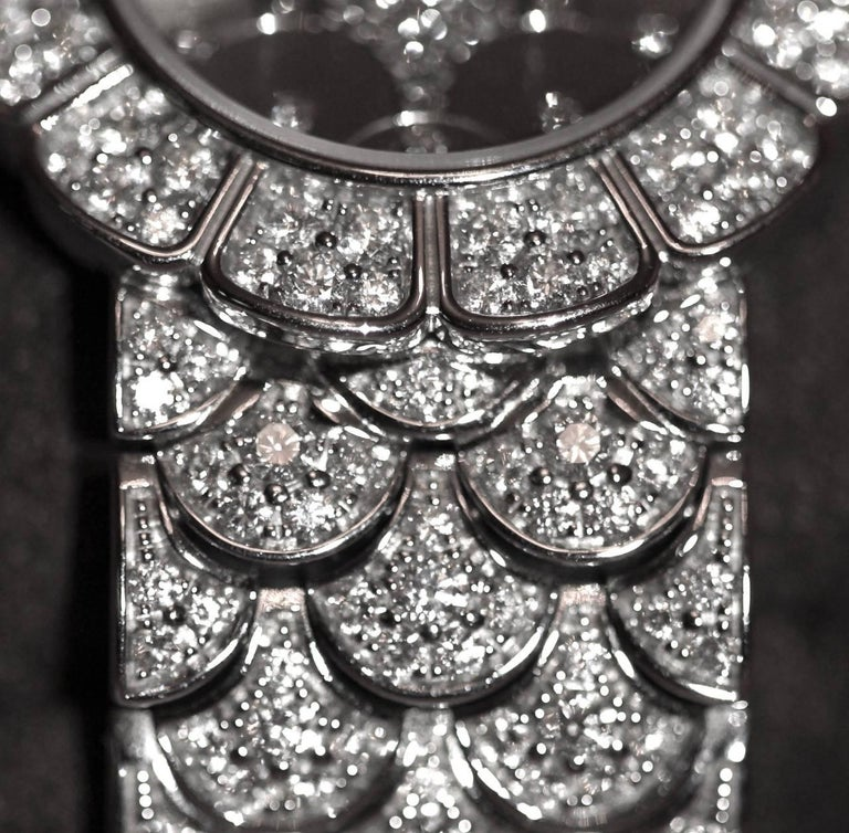 Brilliant Cut Patek Philippe Calatrava 18 Karat White Gold and Diamond Watch For Sale