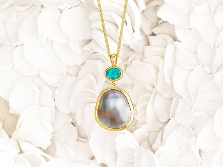 Artisan Australian Opal with Sea of Cortez Mabe Pearl and 18 Karat Gold Pendant Necklace For Sale