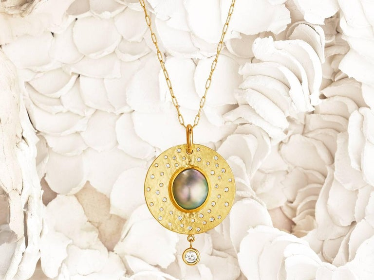 Artisan Large Sea of Cortez Mabe Pearl and Diamond Pendant Necklace For Sale