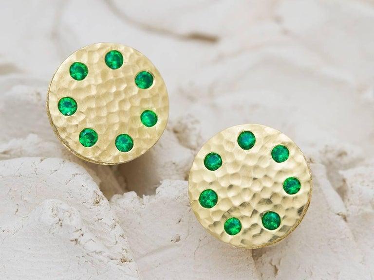 Artisan Tsavorite and Micropavé Diamond 18 Karat Gold Stud Earrings For Sale