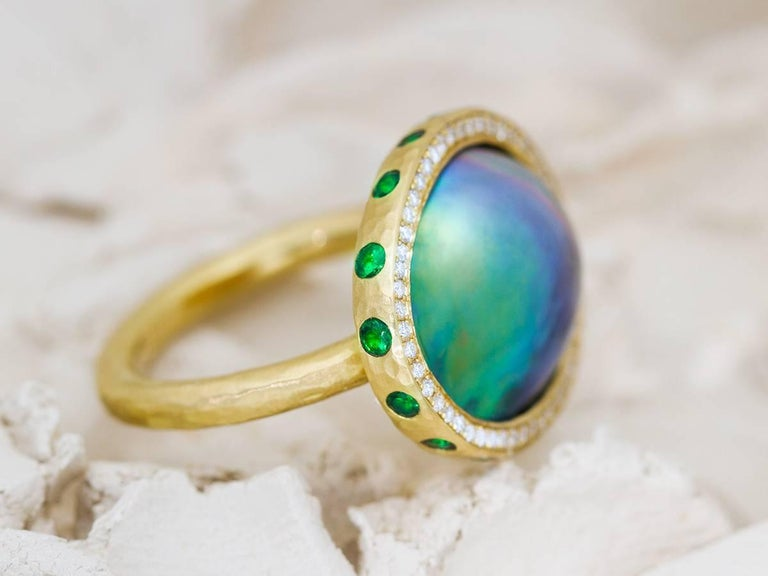 Artisan Sea of Cortez, Tsavorite and Diamond Micropavé 18 Karat Gold Ring