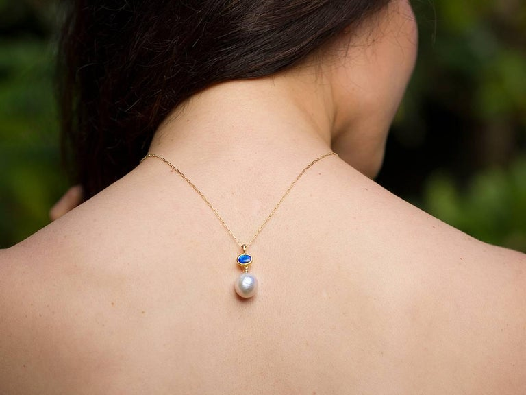 Artisan 13 mm Kasumi Pearl, Solid Australian Opal and 18 Karat Gold Pendant Necklace For Sale