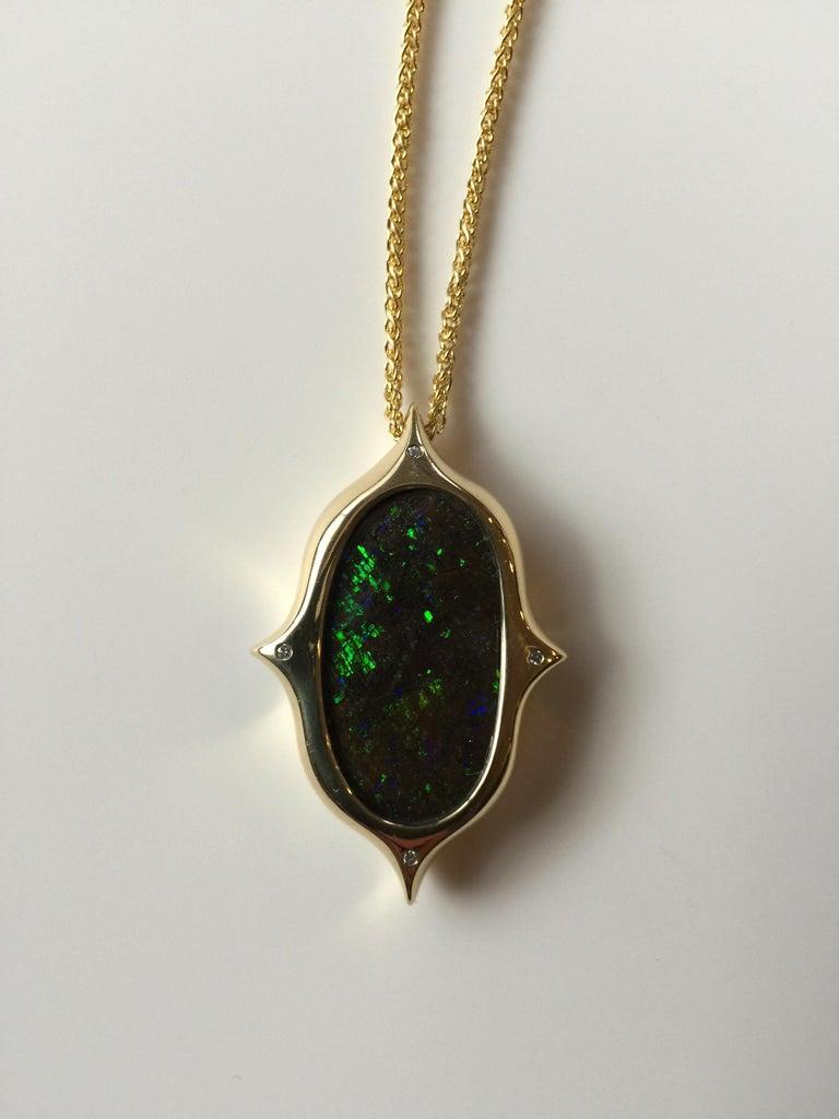 Women's or Men's Australian Boulder Opal, Diamond and 18 Karat Gold Pendant Necklace For Sale