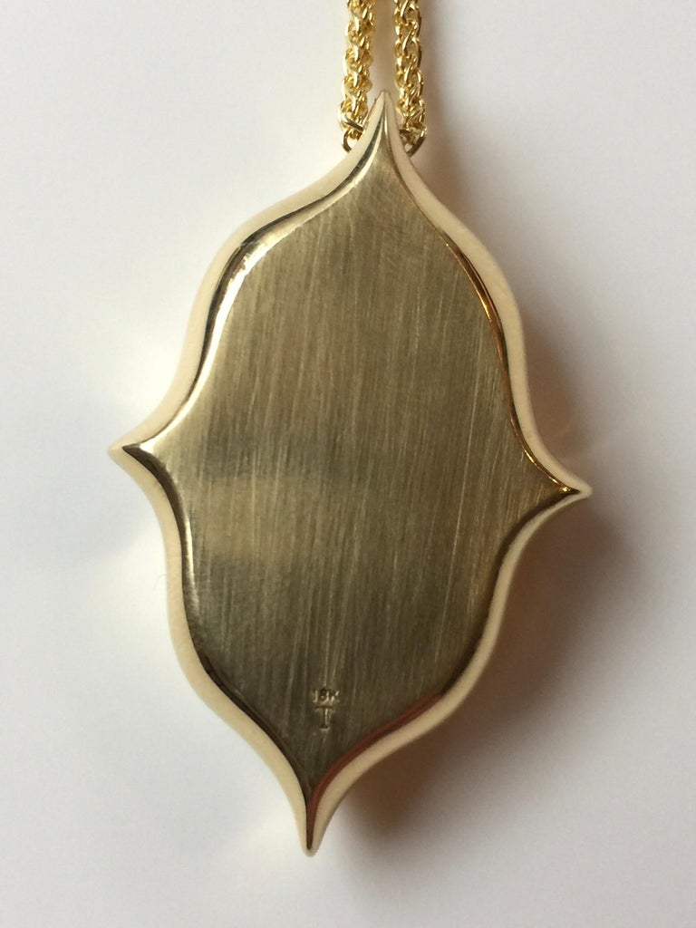 Australian Boulder Opal, Diamond and 18 Karat Gold Pendant Necklace In New Condition For Sale In Berkeley, CA
