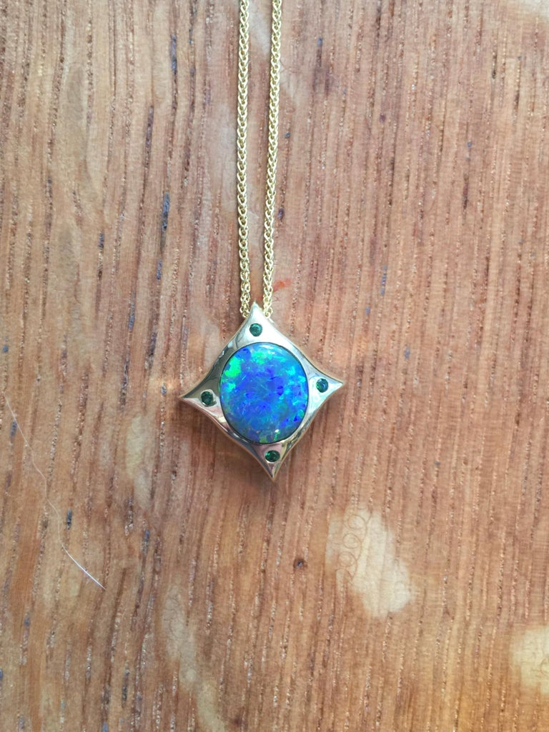 Artisan Arabesque 18 Karat Gold Solid Australian Opal Pendant Necklace For Sale
