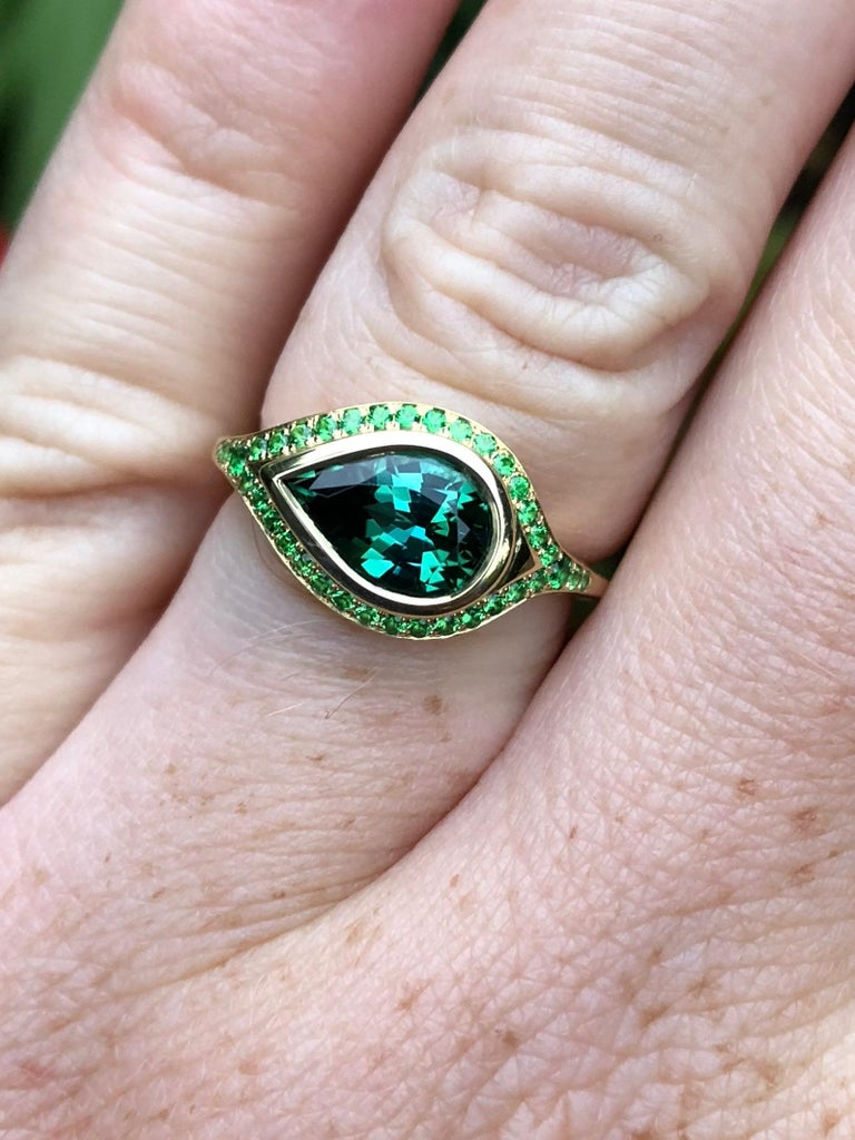 Artisan Engagement Ring with 2.46 Carat Tourmaline and Tsavorite Pavé For Sale
