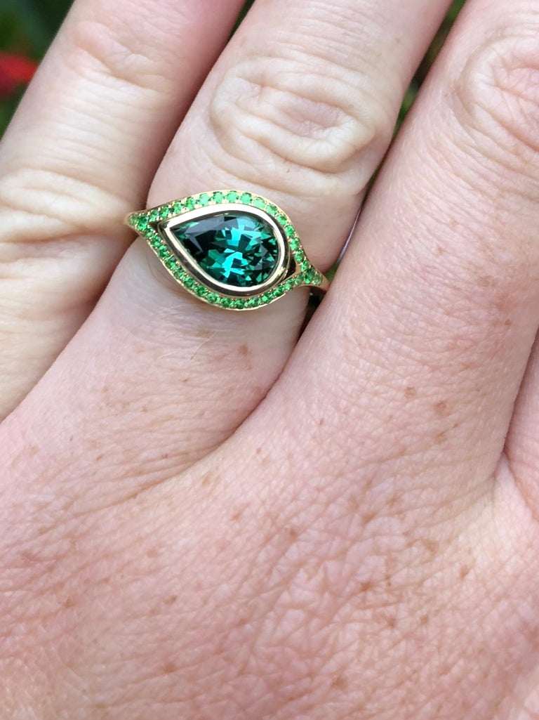 Pear Cut Engagement Ring with 2.46 Carat Tourmaline and Tsavorite Pavé For Sale