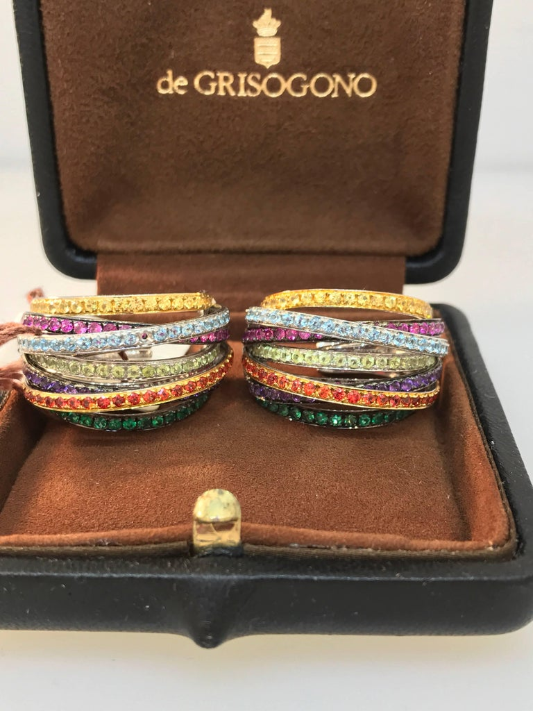 De Grisogono Allegra 18 Karat White Gold Colorful Stones Earrings In Excellent Condition For Sale In New York, NY