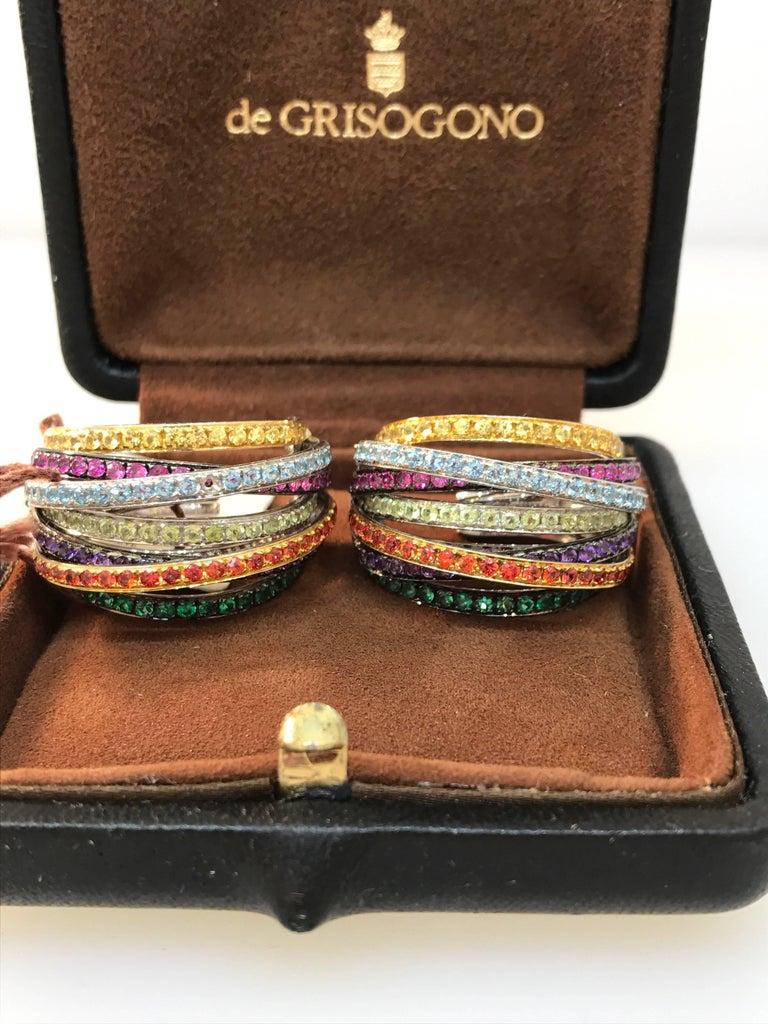Women's De Grisogono Allegra 18 Karat White Gold Colorful Stones Earrings For Sale