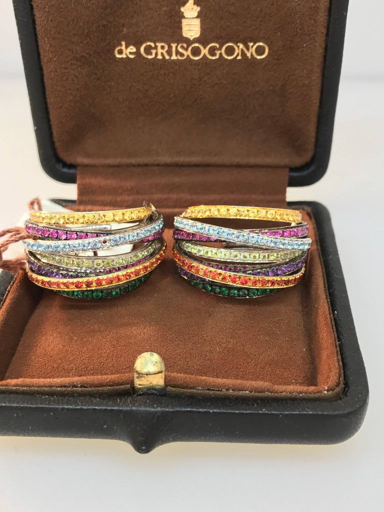 De Grisogono Allegra 18 Karat White Gold Colorful Stones Earrings For Sale 1