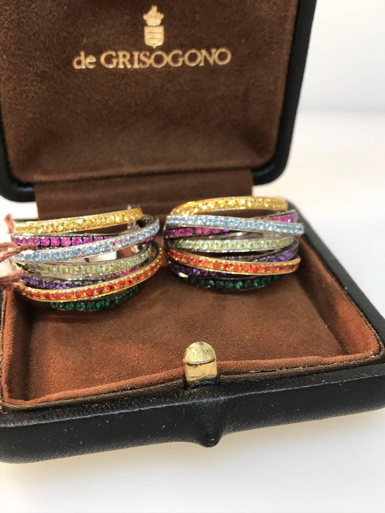 De Grisogono Allegra 18 Karat White Gold Colorful Stones Earrings For Sale 2