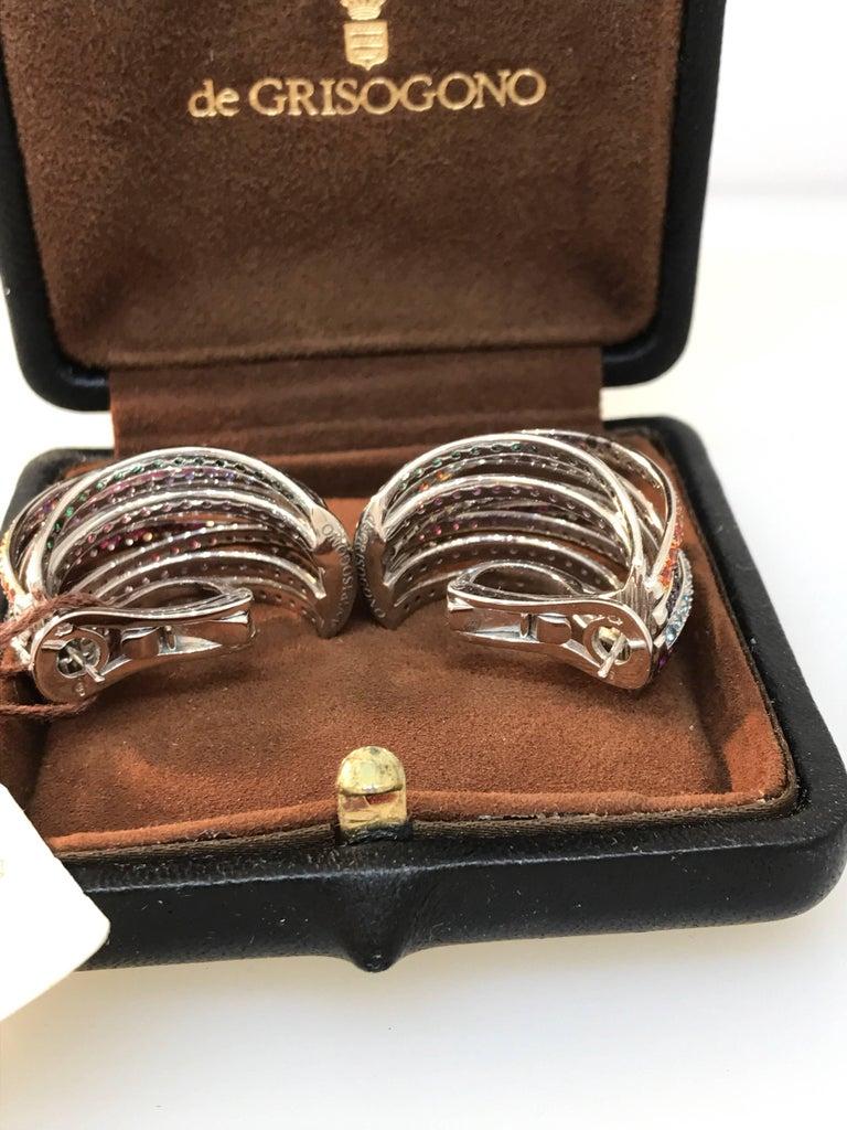 De Grisogono Allegra 18 Karat White Gold Colorful Stones Earrings For Sale 3