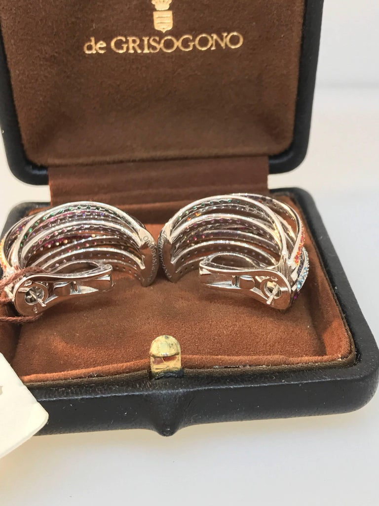 De Grisogono Allegra 18 Karat White Gold Colorful Stones Earrings For Sale 4