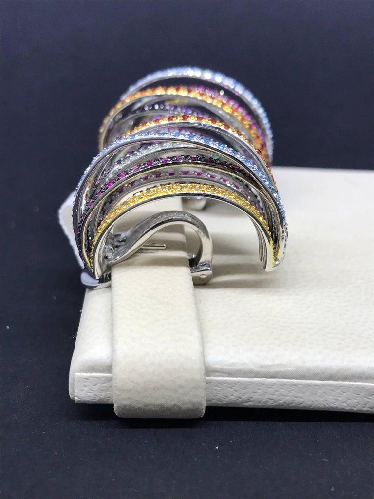 De Grisogono Allegra 18 Karat White Gold Colorful Stones Earrings For Sale 6