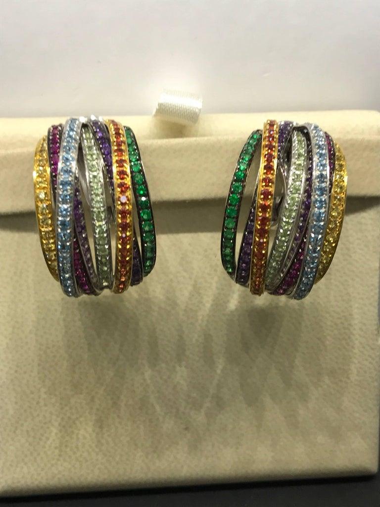 De Grisogono Allegra 18 Karat White Gold Colorful Stones Earrings For Sale 5