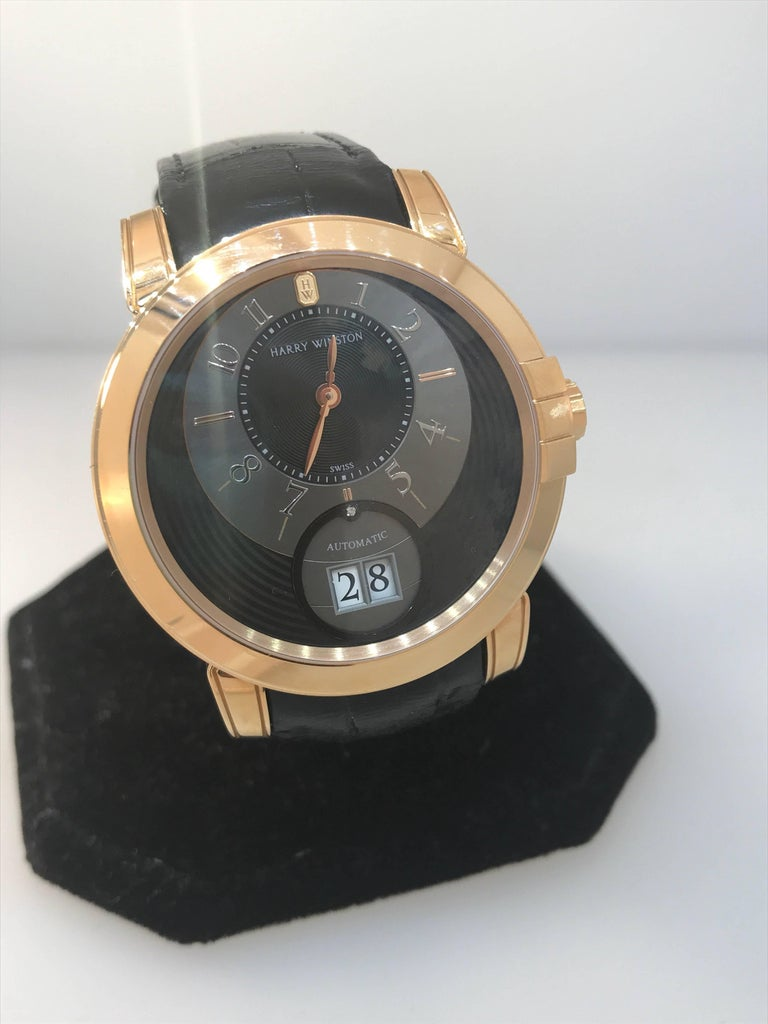 Men's Harry Winston Rose Gold Midnight Big Date Automatic Wristwatch  For Sale