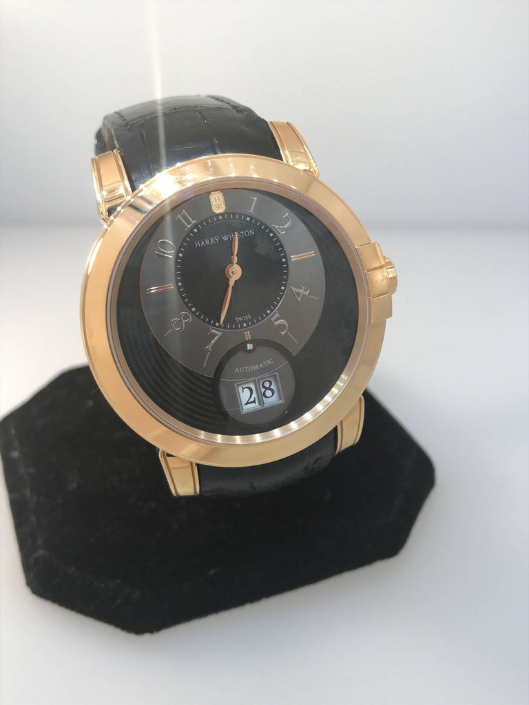 Harry Winston Rose Gold Midnight Big Date Automatic Wristwatch  For Sale 1