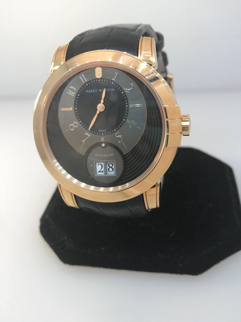 Harry Winston Rose Gold Midnight Big Date Automatic Wristwatch  For Sale 4