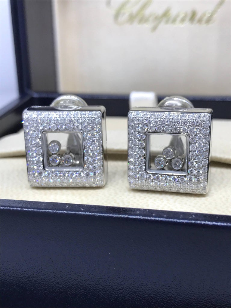 Chopard Happy Diamonds Square 18 Karat White Gold Diamond Earrings 84/2768-20 In Excellent Condition For Sale In New York, NY