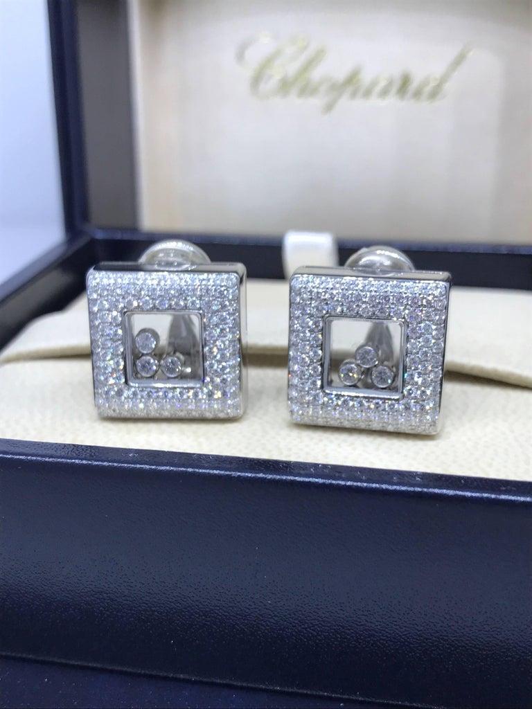 Women's Chopard Happy Diamonds Square 18 Karat White Gold Diamond Earrings 84/2768-20 For Sale