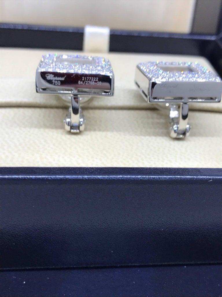 Chopard Happy Diamonds Square 18 Karat White Gold Diamond Earrings 84/2768-20 For Sale 1