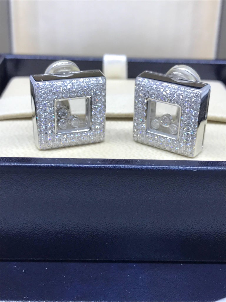 Chopard Happy Diamonds Square 18 Karat White Gold Diamond Earrings 84/2768-20 For Sale 2