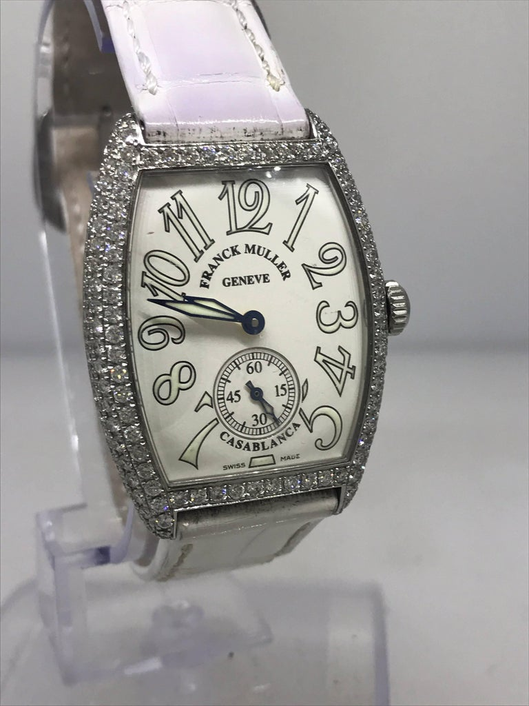5089208c88d Women s or Men s Franck Muller Casablanca Curvex Stainless Steel Diamond  Leather Band Ladys Watch For Sale