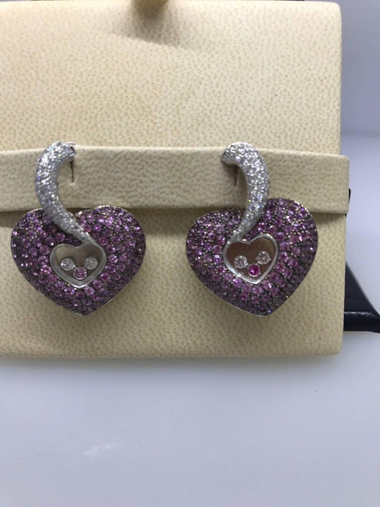 Chopard Happy Diamonds Gold Diamonds and Pink Sapphire Heart Shape Earrings In Excellent Condition For Sale In New York, NY