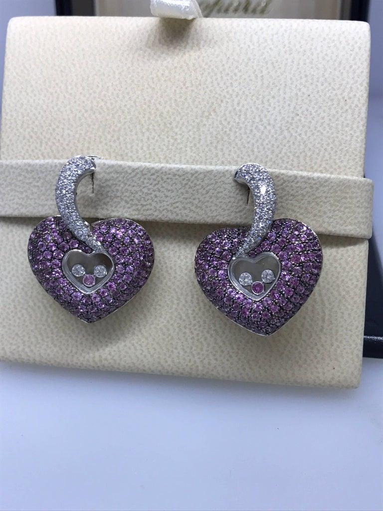Women's Chopard Happy Diamonds Gold Diamonds and Pink Sapphire Heart Shape Earrings For Sale