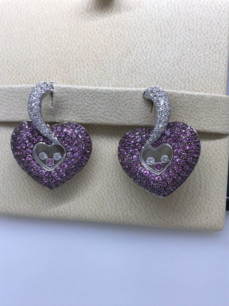 Chopard Happy Diamonds Gold Diamonds and Pink Sapphire Heart Shape Earrings For Sale 1