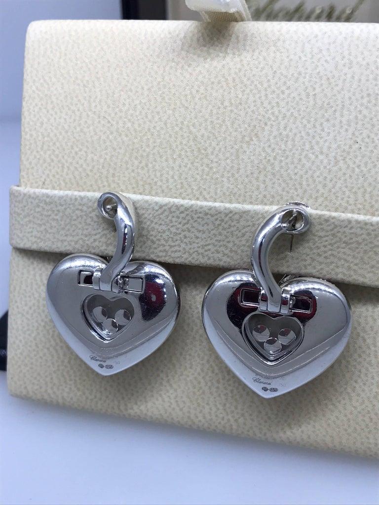 Chopard Happy Diamonds Gold Diamonds and Pink Sapphire Heart Shape Earrings For Sale 2