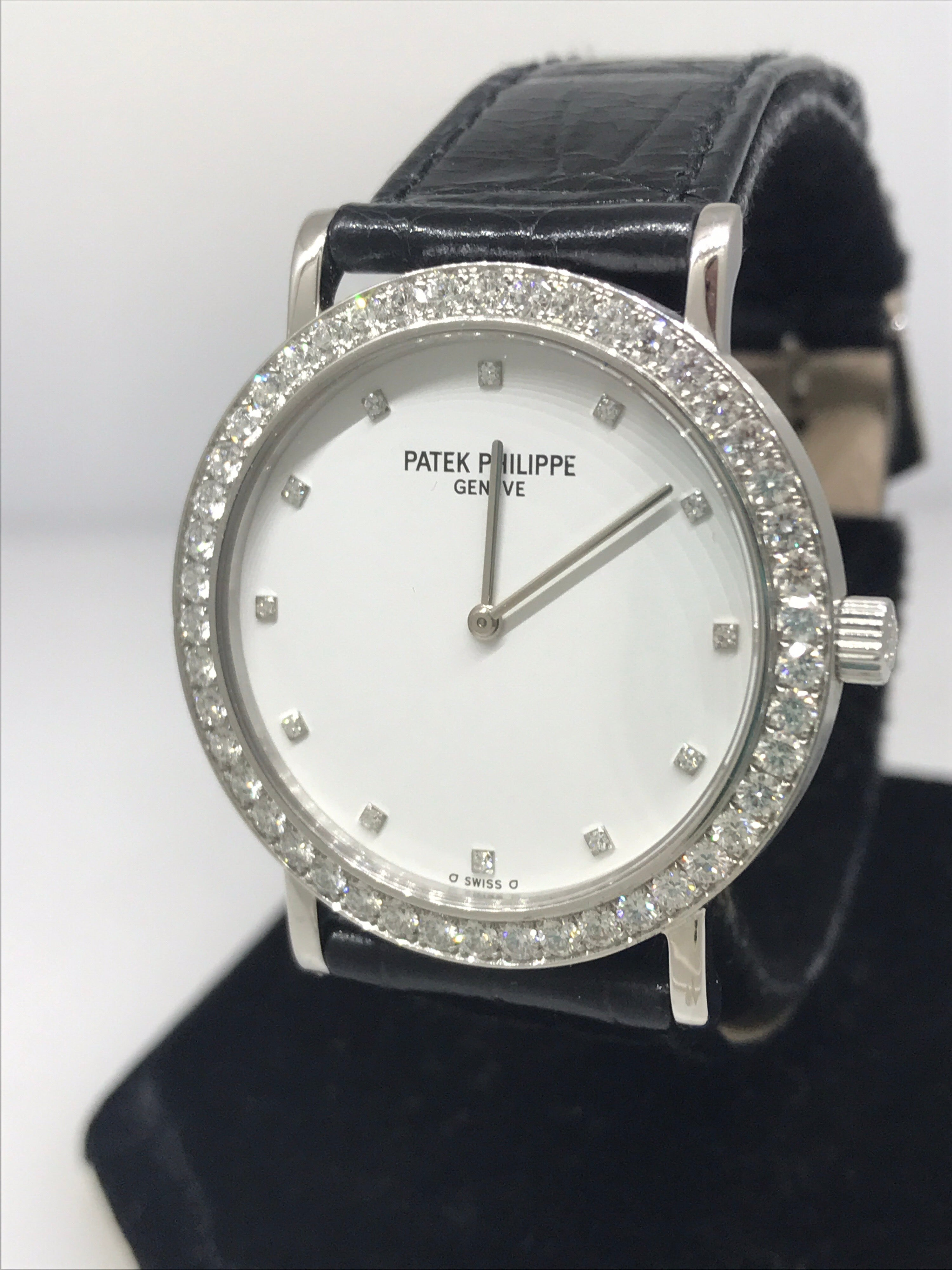ab46beca28e Patek Philippe Calatrava White Gold and Diamond Leather Band Ladies Watch  5000G For Sale at 1stdibs