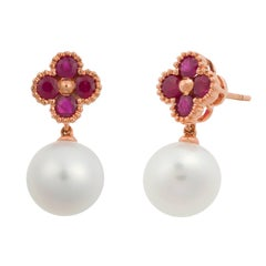 Fei Liu 18 Karat Clover Rose Gold Drop Earring with Rudy and Fresh Water Pearl