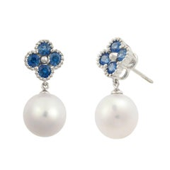 Fei Liu 18 Karat Clover White Gold Drop Earring, Blue Sapphire and Water Pearls