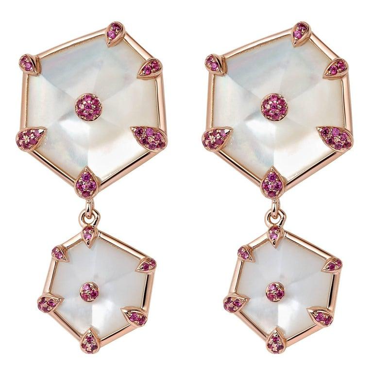 Fei Liu Hexagon Mother-of-Pearl, Pink Sapphires 18 Karat Rose Gold Stud Earrings